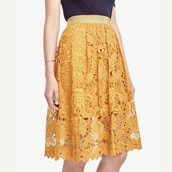 Stunning Mustard Yellow Lace Skirt